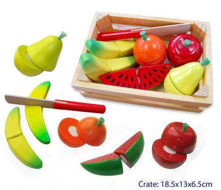 Fun Factory Kid's Wooden Fruit Cutting Set in Crate