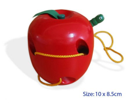 Fun Factory Educational Wooden Lacing Apple & Worm