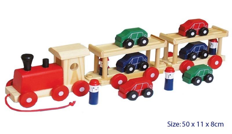Fun Factory Wooden Train / Truck with 6 Cars and 4 People