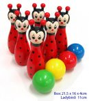 Childrens Wooden Bowling Skittles Game - Ladybird