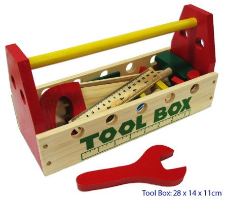 Fun Factory Wooden Tool Box w/ Tools 21Pc Set