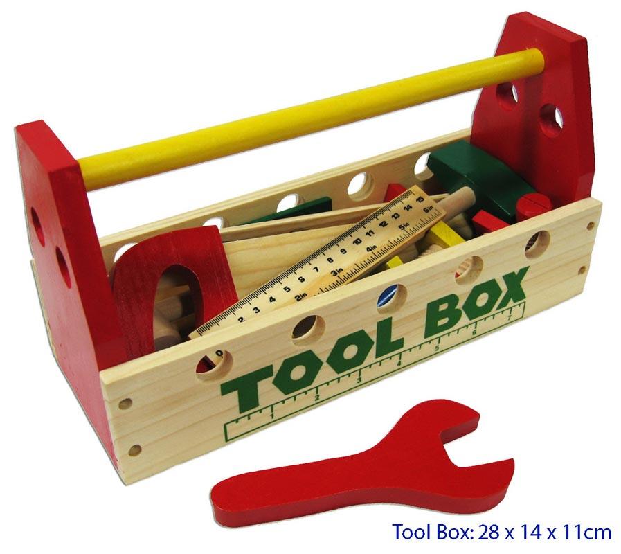Fun Factory Wooden Tool Box w/ Tools 21Pc Set