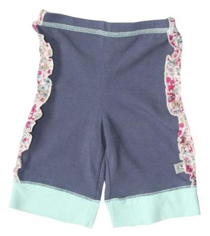 Girls Slate Blue Pants with Cuffs and Fabric Ruffle Trim