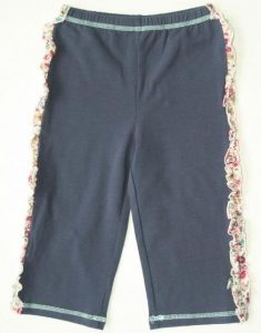 Girls Slate Blue Pants with Fabric Ruffle Trim (no cuffs)
