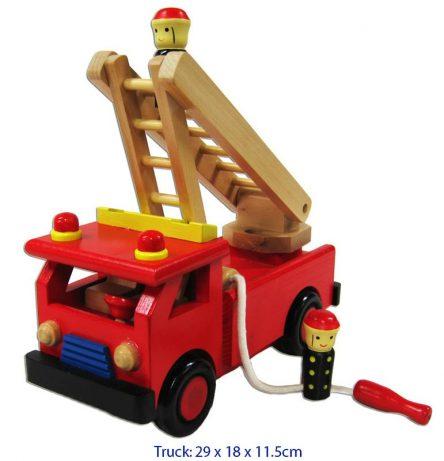 Fun Factory Wooden Fire Engine Truck with Ladder & Firemen