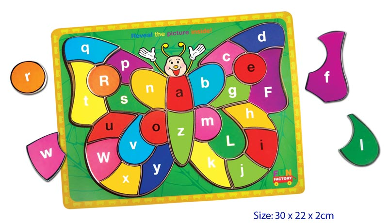 Fun Factory Educational Wooden Puzzle Alphabet Butterfly