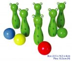 Childrens Wooden Bowling Skittles Game - Frog