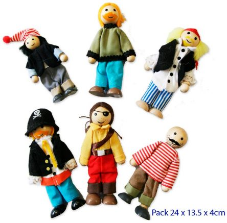 Traditional Wooden Doll House Dolls Set 6 - Poseable - PIRATES