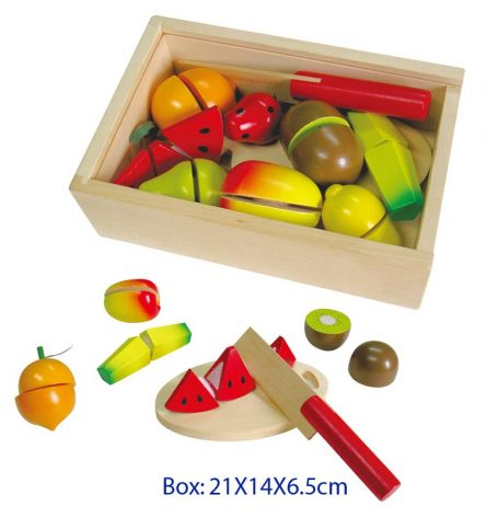 Fun Factory Kid's Wooden Fruit Cutting Set in Box with Lid