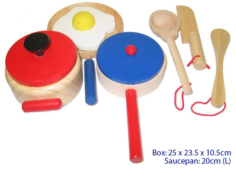 Fun Factory Wooden Kitchen Cooking Set 9pc
