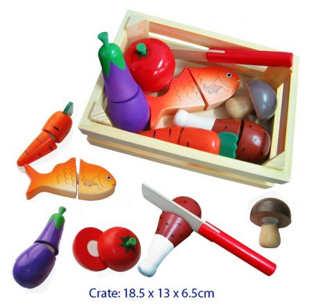 Fun Factory Wooden Food Cutting Crate - Play Kitchen Food - 8pc