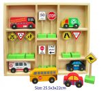 Set of 6 Wooden Cars & 10 Australian Traffic Signs in Box