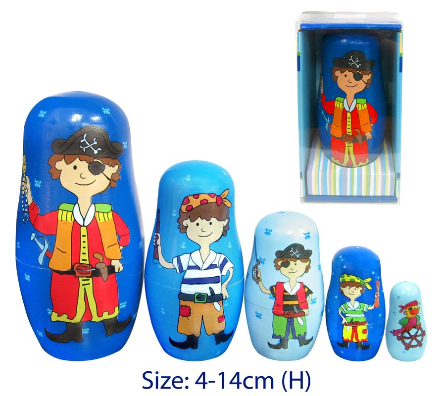 Fun Factory Wooden Pirate Nesting Russian Dolls 5pc