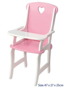 Fun Factory Wooden Dolls High Chair in Pink & White