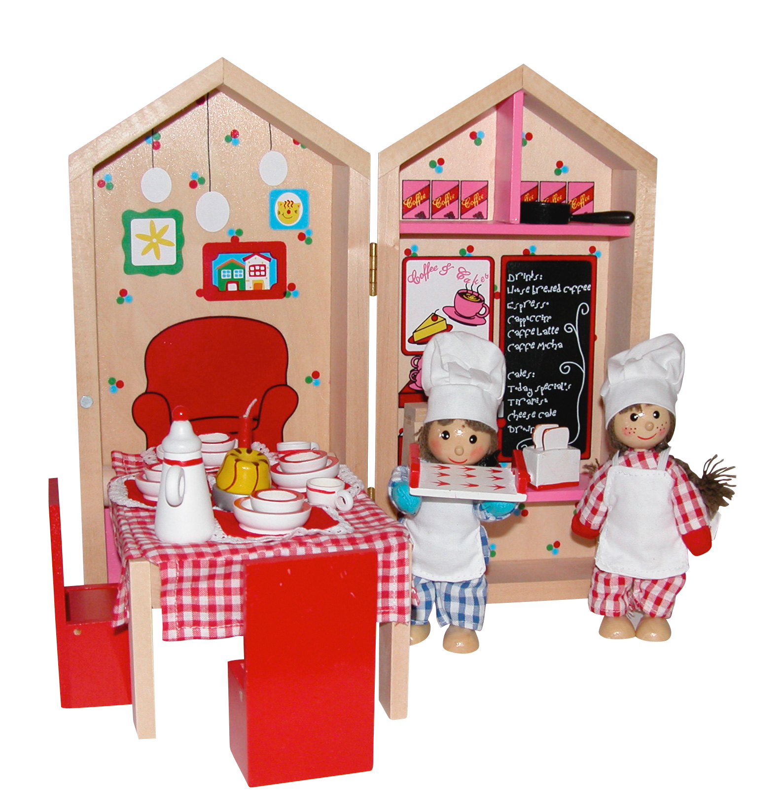 Busy Box Wooden Cafe Coffee Shop Dolls House Set