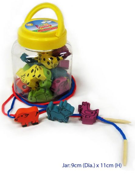 Fun Factory Educational Wooden Lacing Animals in Jar - Set 30