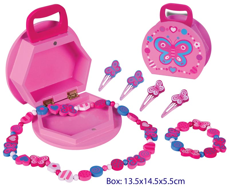 Fun Factory Wooden Butterfly Jewellery Box with accessories