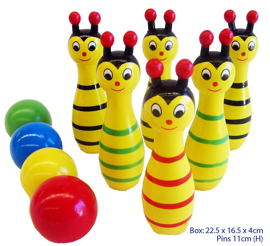 Childrens Wooden Bowling Skittles Game - Bee
