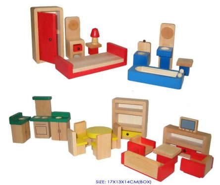 Fun Factory Wooden Doll House Furniture 24pc