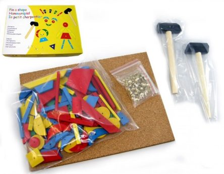 Kaper Kidz Wooden TAP A SHAPE Set with Cork Board and Nails
