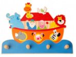 Kaper Kidz Noah's Ark Wooden Four Hook Coat / Hat Rack