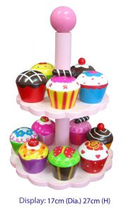 Play Food Wooden High Tea Cupcake Set of 12 with Stand 27cm H
