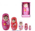 Fun Factory Wooden Pink Floral Babushka Nesting Russian Dolls 5