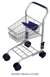 Children's Metal Frame Shopping Trolley Silver