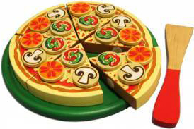 Fun Factory Educational Wooden Pizza with Topping