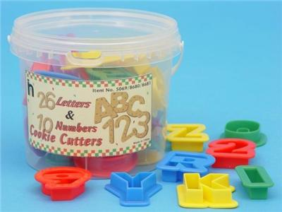 10 Number & 26 Alphabet Cookie / Play Dough Cutters in Tub