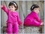 RuffleButts Knit Crawler Pants - Fuchsia