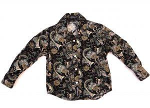 Hullubullu Winter Cord Shirt - Black/Green Paisley