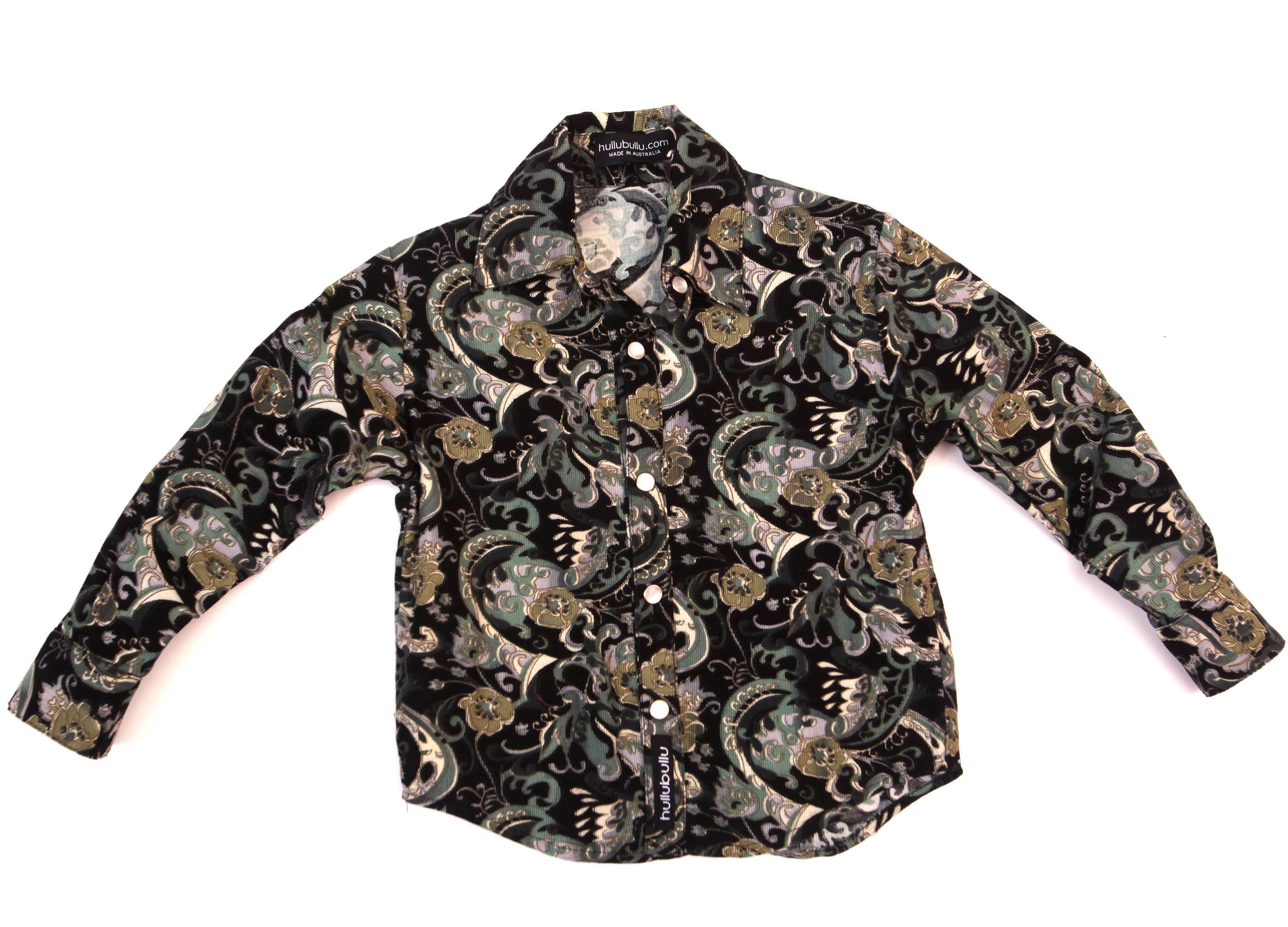 Hullubullu Winter Cord Shirt - Black/Green Paisley