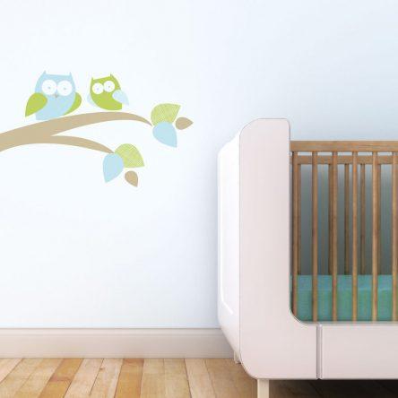 Trendy Peas Fabric Wall Decal - Mum & Baby Owl Green & Blue