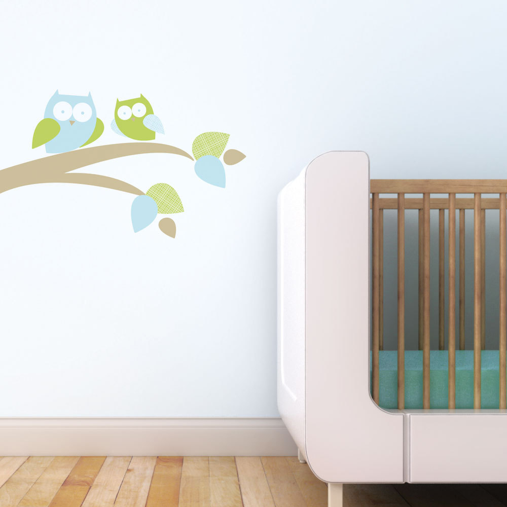 Trendy Peas Fabric Wall Decal - Mum & Baby Owl Green & Blue