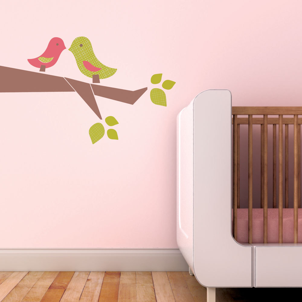 Trendy Peas Fabric Wall Decal - Love Birds Green & Pink