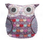 Vintage Floral Owl Cushion 40cm - Purple