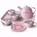 Childrens Floral Design Pink Tin Tea Set in Storage Suitcase