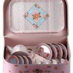 Childrens Floral Design Pink Tin Tea Set in Storage Suitcase