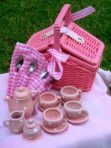 Baby Mia Miniature Ceramic China Tea Set in Pink Basket 17pc