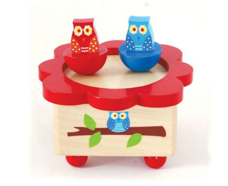 Wooden Wind Up Music Box - Owl Design