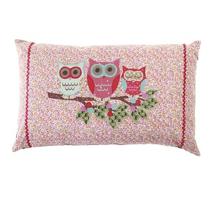 Vintage Style Floral Owl Cushion - 3 Owls & Branch