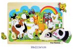 Children's Educational Wooden Farm Animals Raised Puzzle