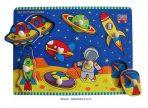Children's Educational Wooden Peg Puzzle - SPACE