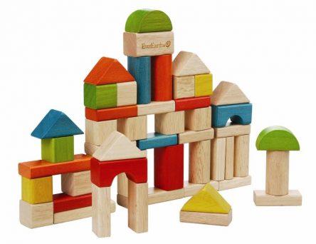 EverEarth Wooden Builing Blocks Set in Sorter Bucket 50pc