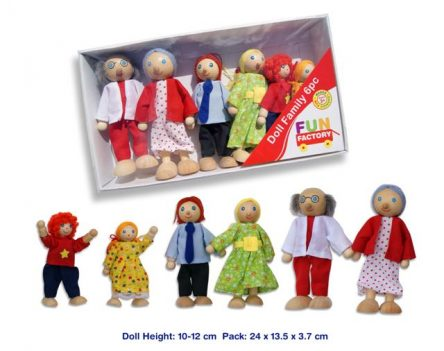Traditional Wooden Doll House Family of 6 - Poseable Dolls