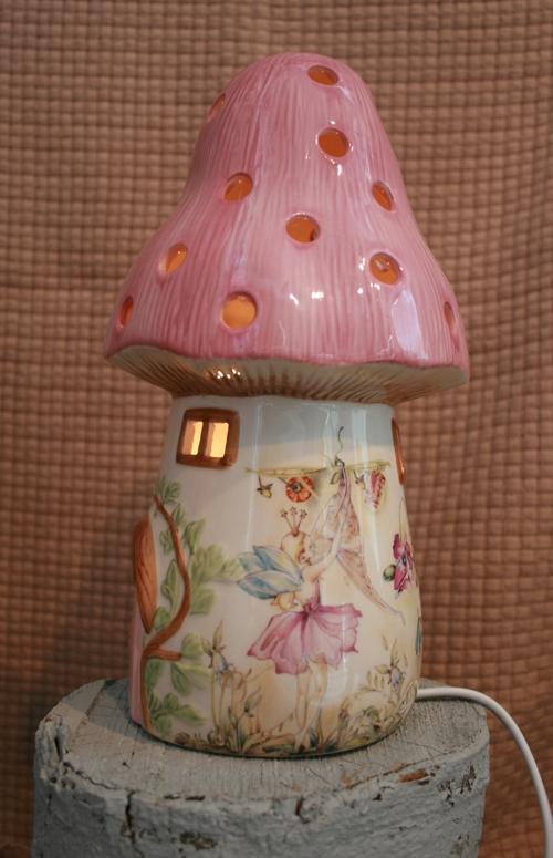 Dewdrop Fairy Toadstool Lamp   Pink