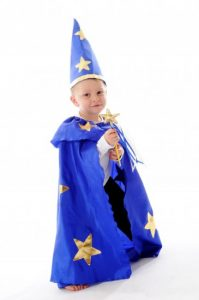 Little Heroes Wizard Cape, Hat & Wand Dress Up