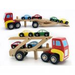 Kaper Kidz Wooden Semi Truck / Car Carrier with 4 Cars