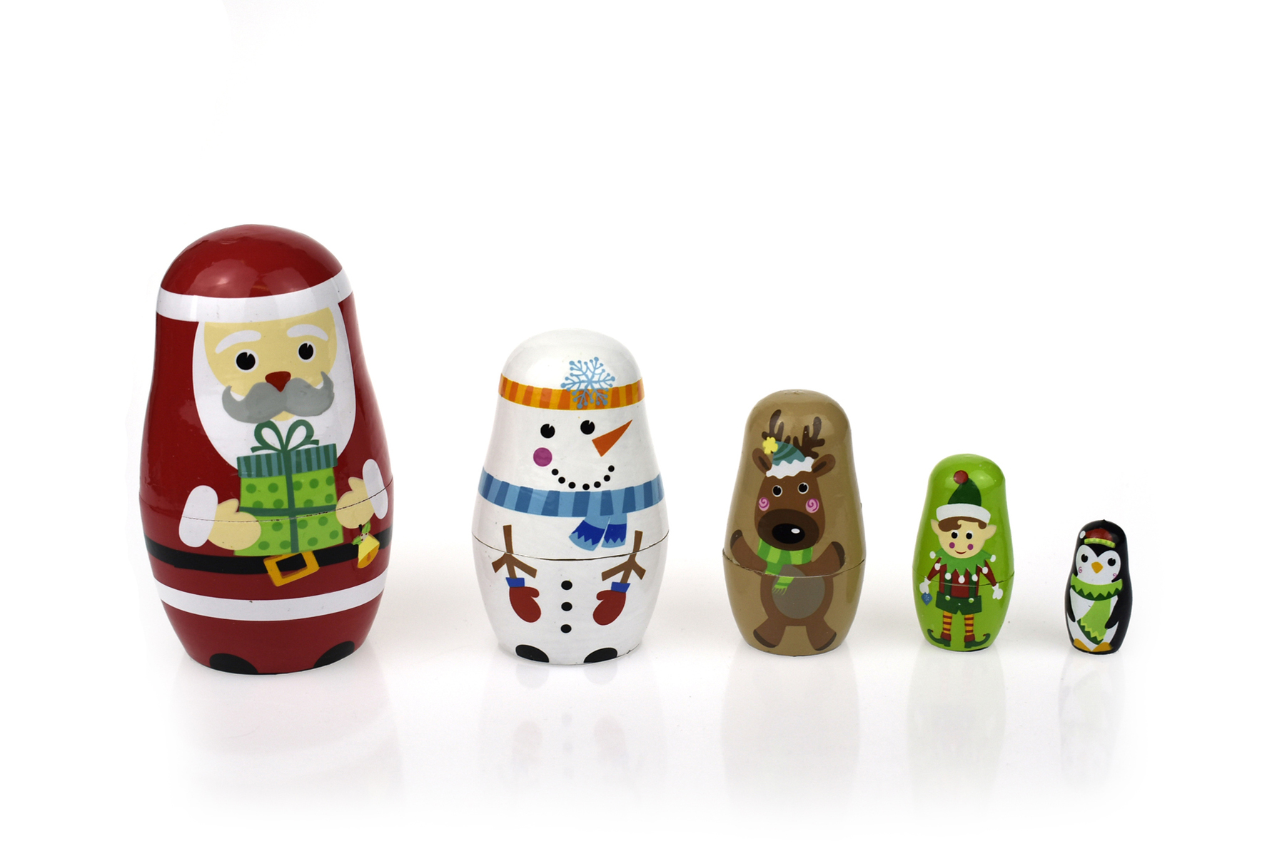 tooky toy wooden christmas nesting doll set